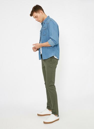 Koton Cep Detayli Skinny Fit Pantolon Yeşil